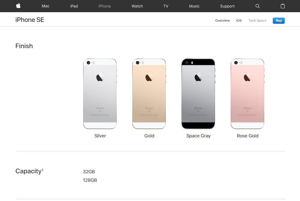 iPhone SE New Storage Capacity
